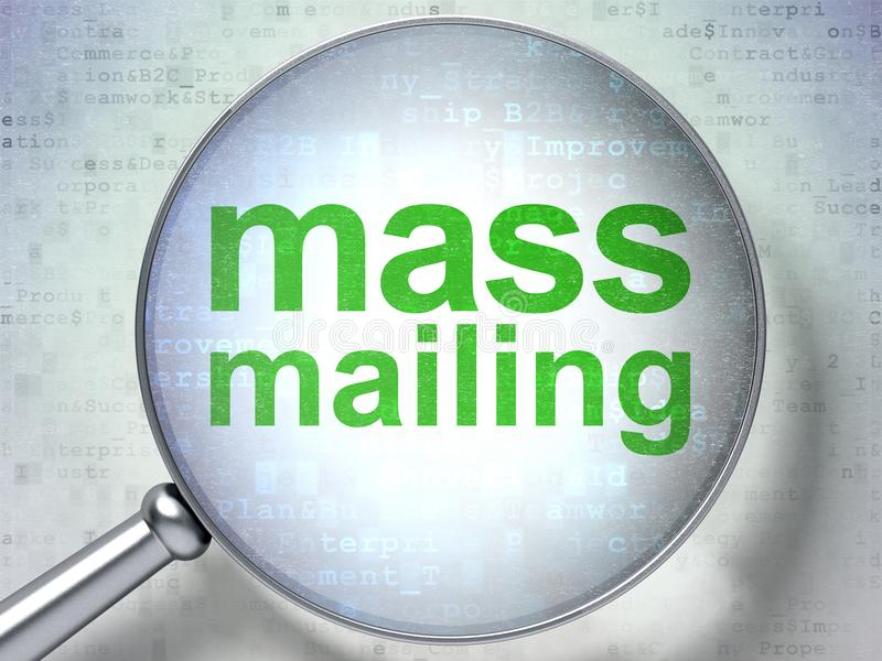 Marketing concept: Mass Mailing with optical glass. Marketing concept: magnifying optical glass with words Mass Mailing on digital background, 3D rendering stock illustration