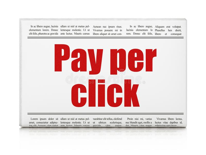 Marketing concept: newspaper headline Pay Per Click. On White background, 3D rendering stock images