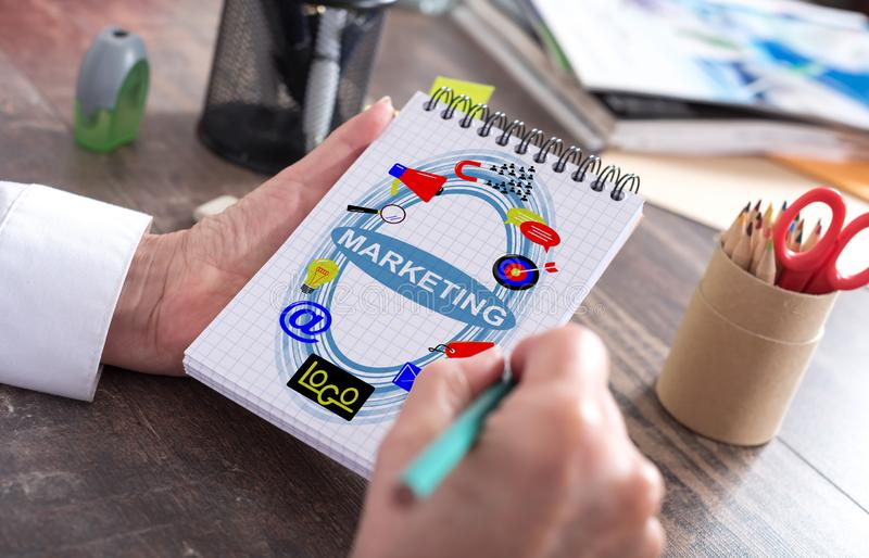 Marketing concept on a notepad royalty free stock photos