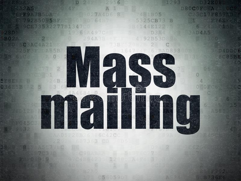 Marketing concept: Mass Mailing on Digital Data Paper background. Marketing concept: Painted black word Mass Mailing on Digital Data Paper background royalty free illustration