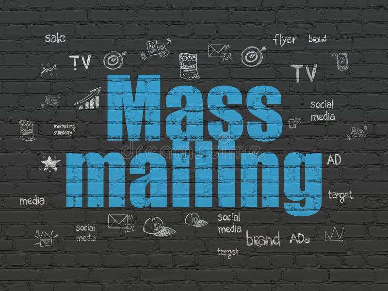 Marketing concept: Mass Mailing on wall background. Marketing concept: Painted blue text Mass Mailing on Black Brick wall background with Hand Drawn Marketing stock illustration