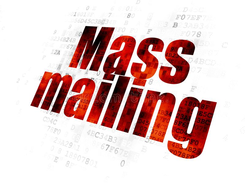 Marketing concept: Mass Mailing on Digital background. Marketing concept: Pixelated red text Mass Mailing on Digital background vector illustration