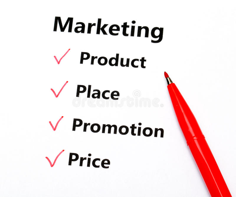 Marketing concept. With red color pen stock images