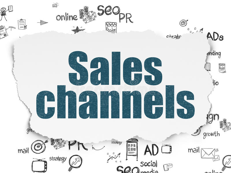 Marketing concept: Sales Channels on Torn Paper. Marketing concept: Painted blue text Sales Channels on Torn Paper background with Scheme Of Hand Drawn Marketing royalty free illustration
