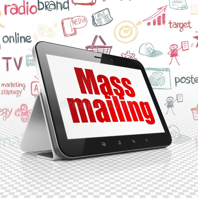 Marketing concept: Tablet Computer with Mass Mailing on display. Marketing concept: Tablet Computer with red text Mass Mailing on display, Hand Drawn Marketing stock illustration