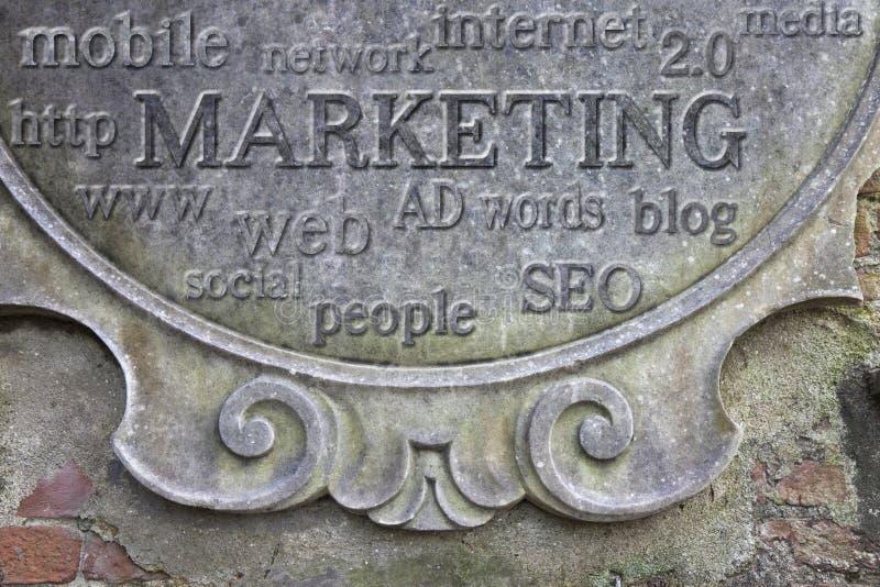 Marketing concept. Marketing written on stucco wall royalty free stock photos