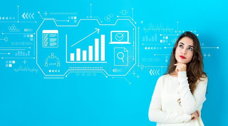 Marketing concept with young woman royalty free stock photography
