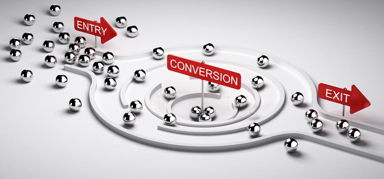 Marketing Conversion Funnel. 3D illustration of a conversion funnel with entry and exit, Business or Marketing concept of leads to sales ratio, horizontal image vector illustration