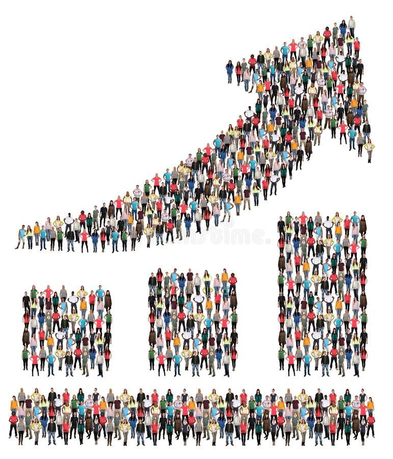 Marketing des Wachstumsgruppe von personenen-Erfolgs-Geschäftsdiagramms stockfotos