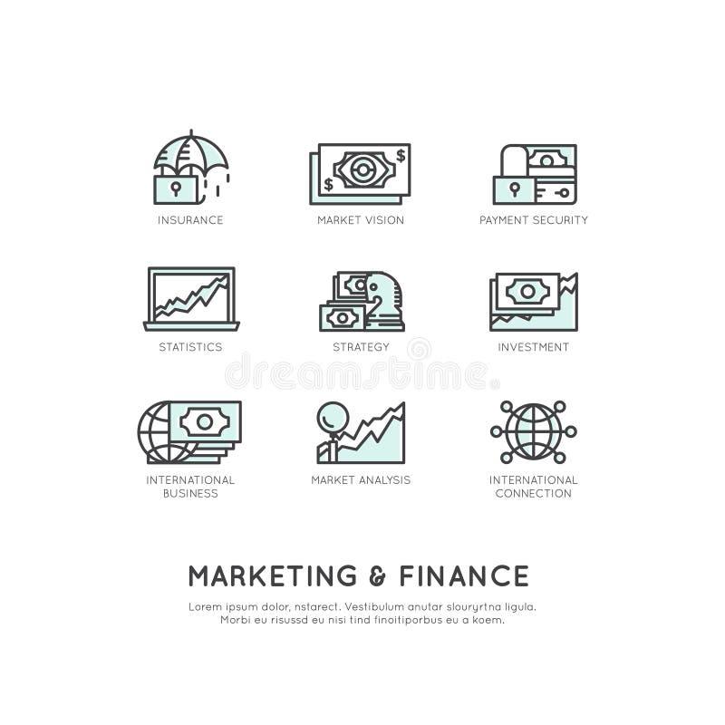 Marketing en Financiën, Bedrijfsvisie, Investering, Beheersproces, Financiënbaan, Inkomen, Opbrengstbron stock illustratie