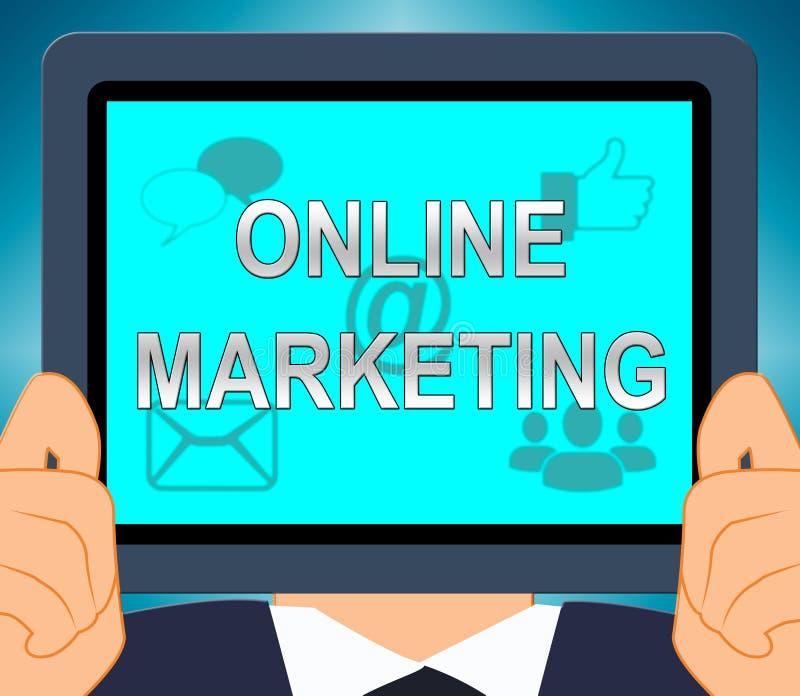 Marketing en ligne montrant l'illustration des promotions 3d du marché illustration libre de droits