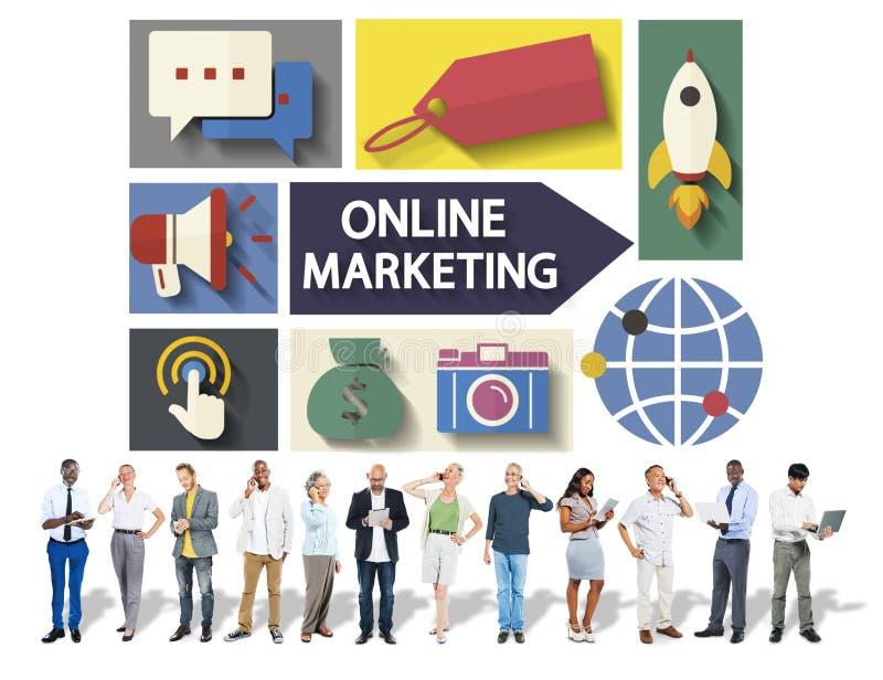 Marketing en ligne stigmatisant la télécommunication mondiale analysant le concept illustration stock