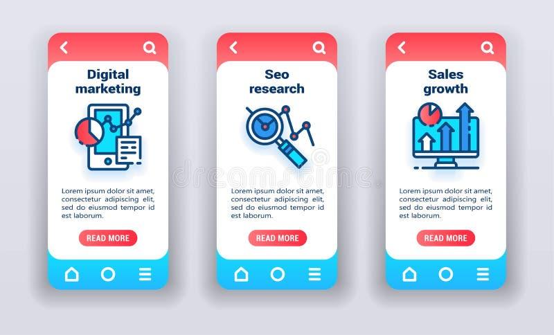 Marketing en pantallas de inicio de aplicaciones móviles. Banners para el desarrollo de sitios web y kits móviles ilustración del vector