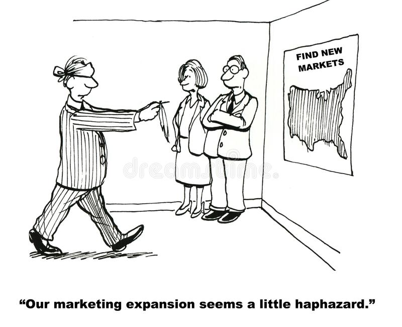 Marketing Expansion. Find New Markets: Our marketing expansion seems a little haphazard vector illustration