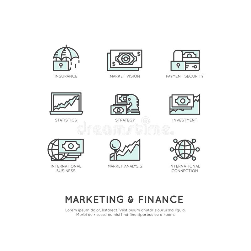 Marketing and Finance, Business Vision, Investment, Management Process, Finance Job, Income, Revenue Source stock illustration