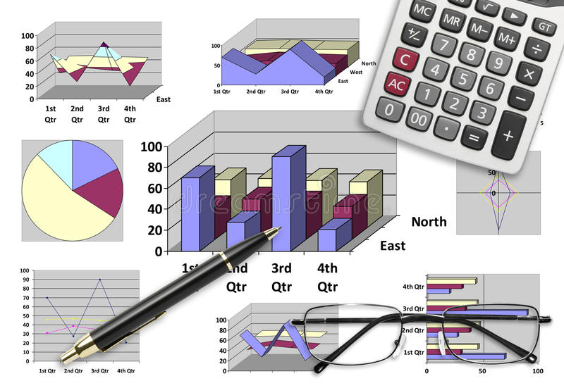Marketing & financial analysis with graphic chart. For business planning stock photos