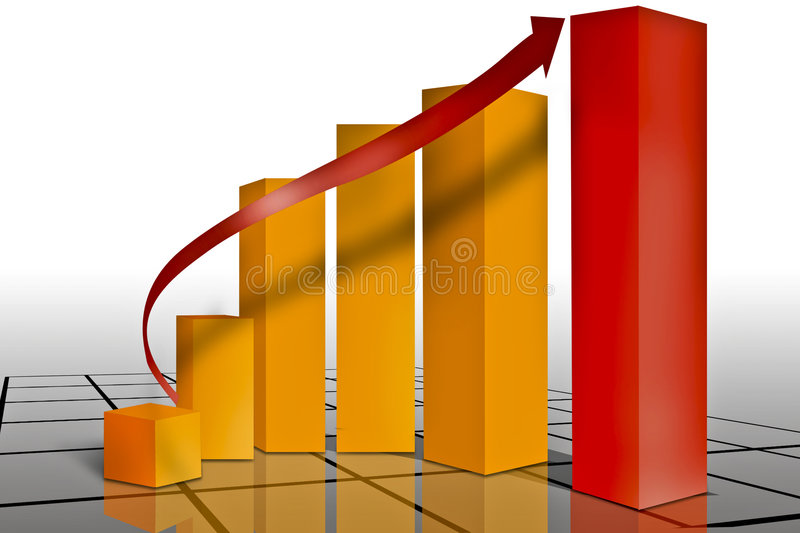 Marketing financial graph. Typical sales or progress graph set on a grid with reflections