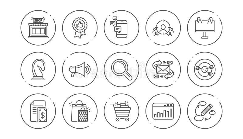 Marketing, Forschungslinie Ikonen Strategie, Feedback und Werbeagentur Linearer Ikonen-Satz Vektor stock abbildung