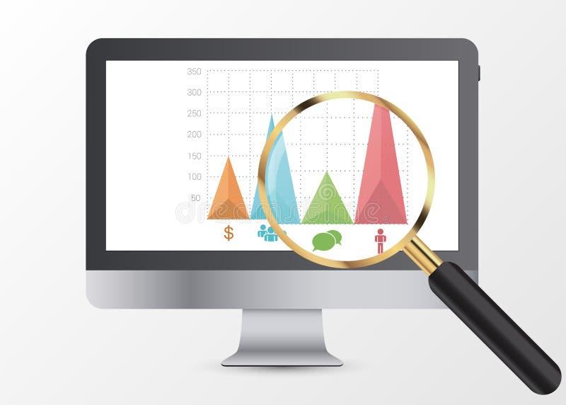 Marketing gegevensanalytics, die statistiekengrafiek analyseren magnifier Vector vector illustratie