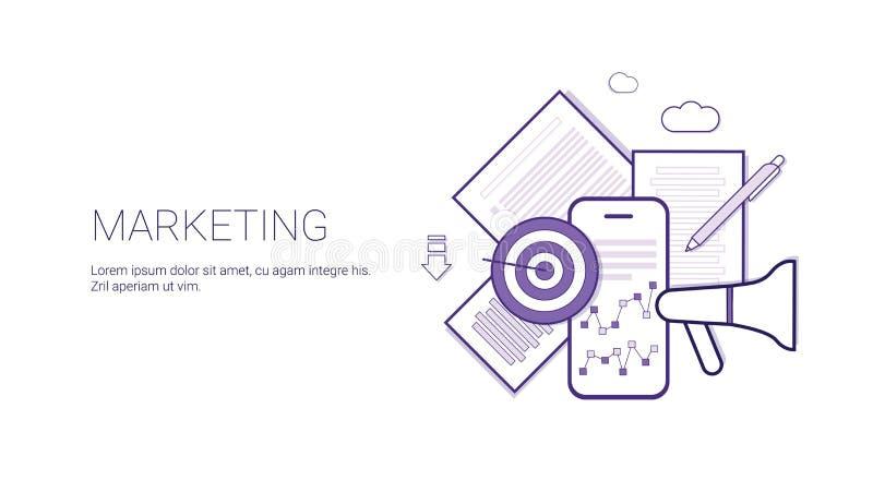 Marketing-Geschäfts-Konzept-Schablonen-Netz-Fahne mit Kopien-Raum vektor abbildung