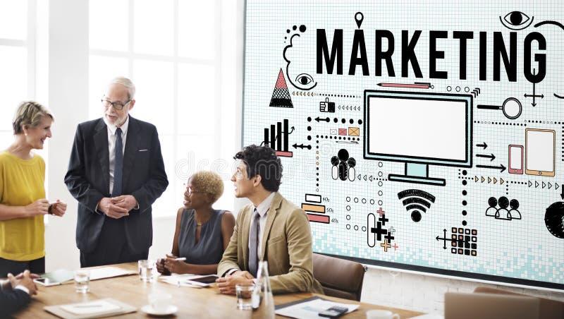 Marketing-Geschäftsstrategie, die Ikonen-Konzept analysiert stockfoto