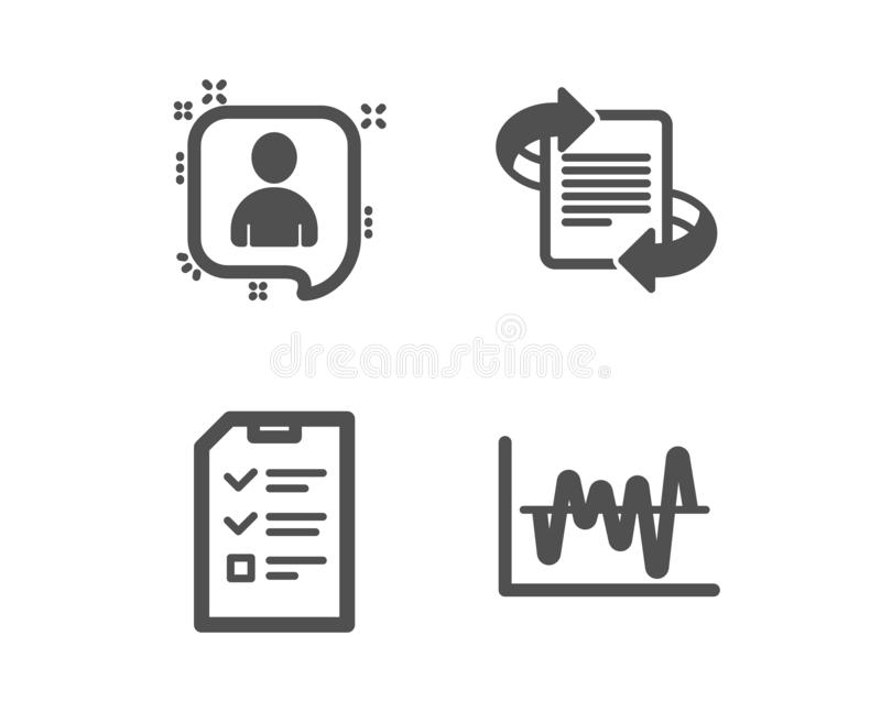Marketing, Gesprek en van het Ontwikkelaarspraatje pictogrammen Het teken van de voorraadanalyse Artikel, Controlelijstdossier, M stock illustratie