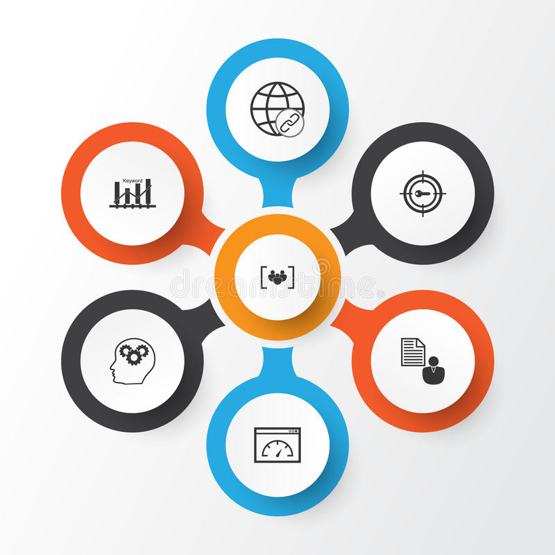 Marketing Icons Set. Collection Of Keyword Marketing, Intellectual Process, Report And Other Elements. Also Includes royalty free illustration