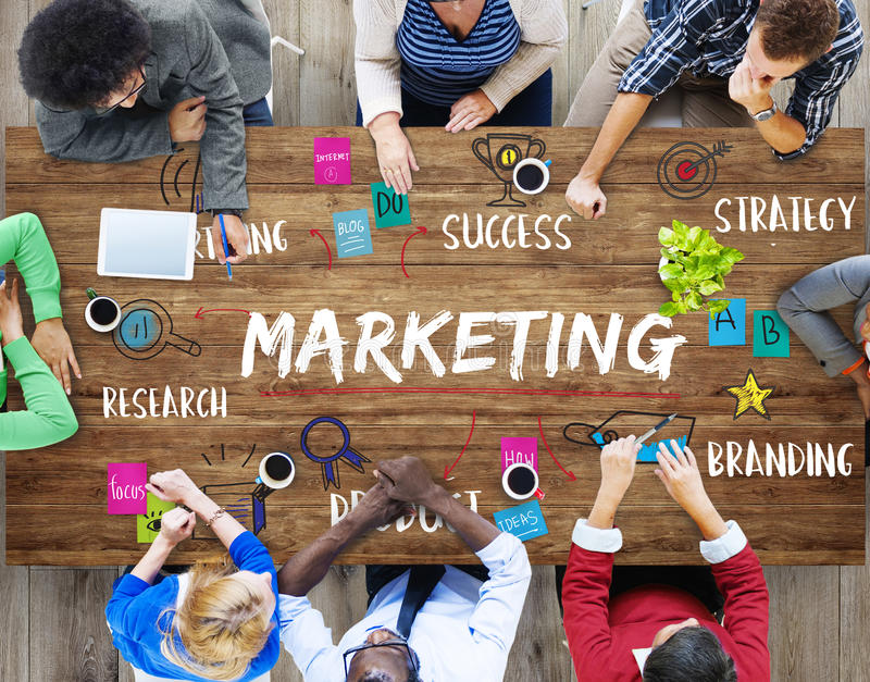 Marketing Ideas Share Research Planning Concept stock photo