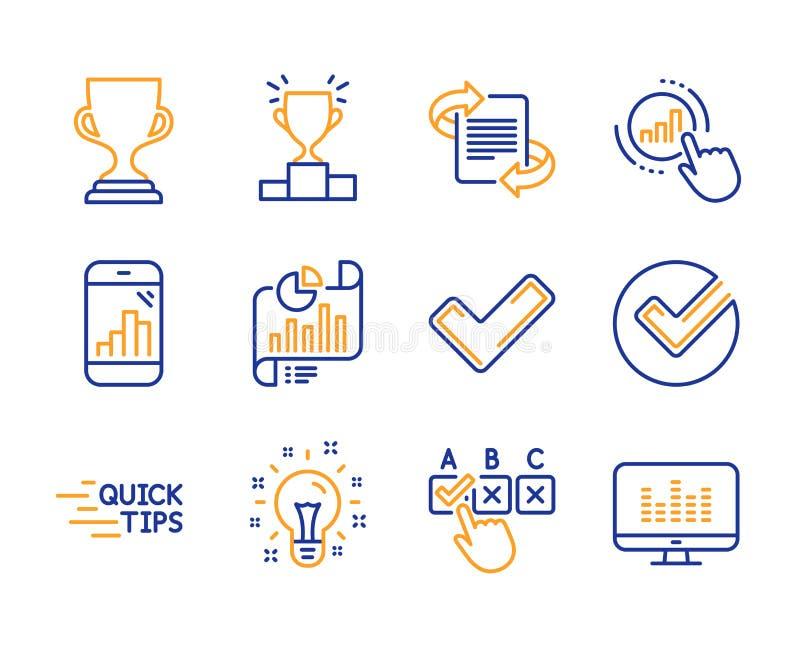 Marketing, Idee en Grafiek geplaatste telefoonpictogrammen Tik, Rapportdocument en de tekens van de Grafiekgrafiek Vector vector illustratie