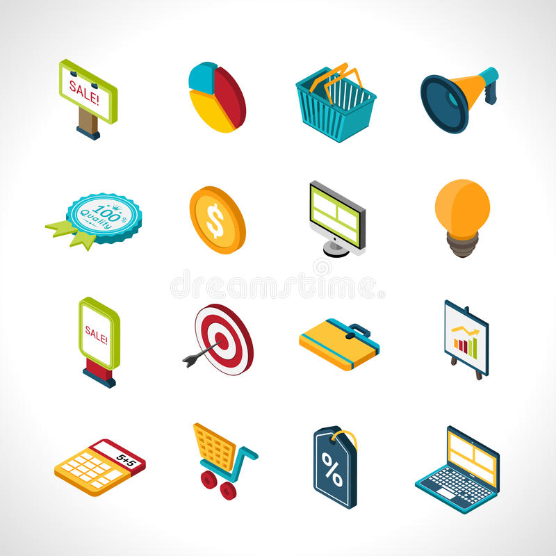 Marketing-Ikonen isometrisch stock abbildung