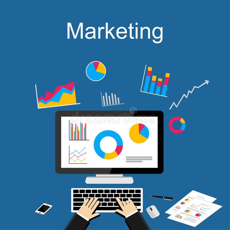 Marketing-Illustration Flache Designillustrationskonzepte für Finanzierung lizenzfreie abbildung