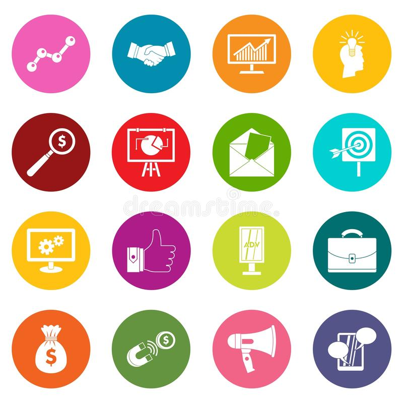 Free Marketing Items Icons Many Colors Set Stock Images - 98449854