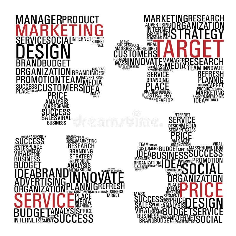 Marketing jigsaw piece communication. stock illustration