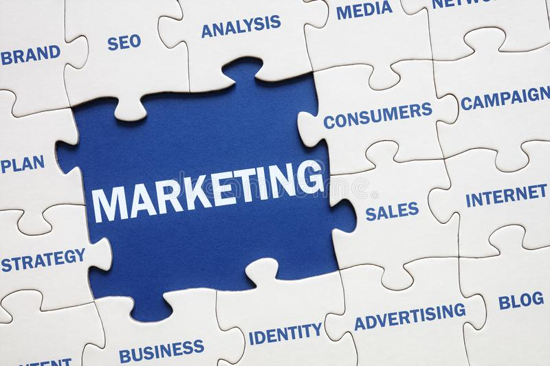 Marketing jigsaw puzzle solution stock photo