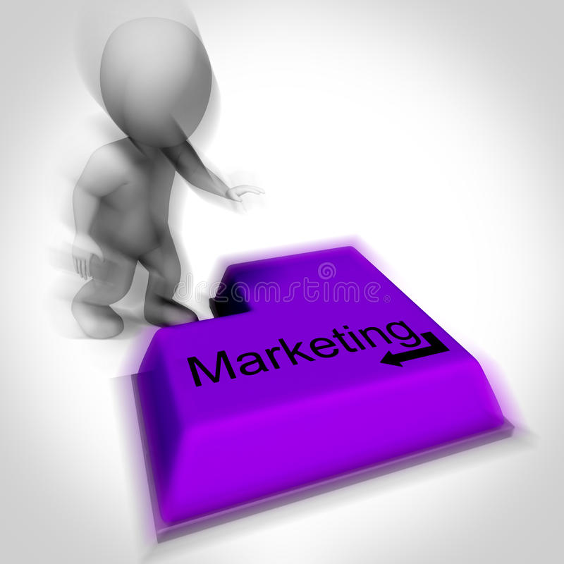 Marketing Keyboard Shows Promotion Advertising And PR stock illustration