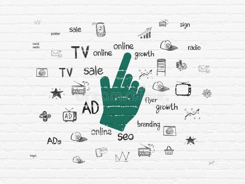 Marketing-Konzept: Mauscursor auf Wandhintergrund vektor abbildung