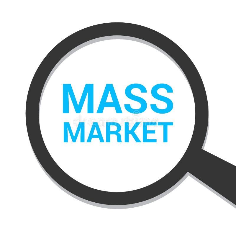 Marketing-Konzept: Optisches Vergrößerungsglas mit Wort-Massenmarkt stock abbildung