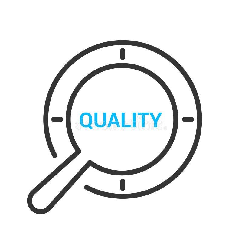 Marketing-Konzept: Optisches Vergrößerungsglas mit Wort-Qualität lizenzfreie abbildung