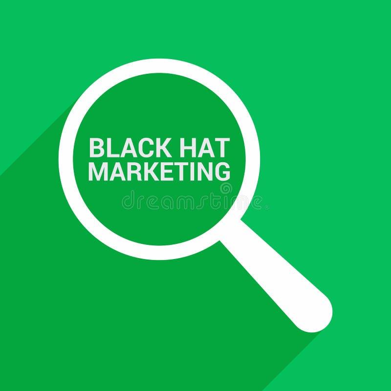 Marketing-Konzept: Optisches Vergrößerungsglas mit Wort-schwarzer Hut-Marketing vektor abbildung
