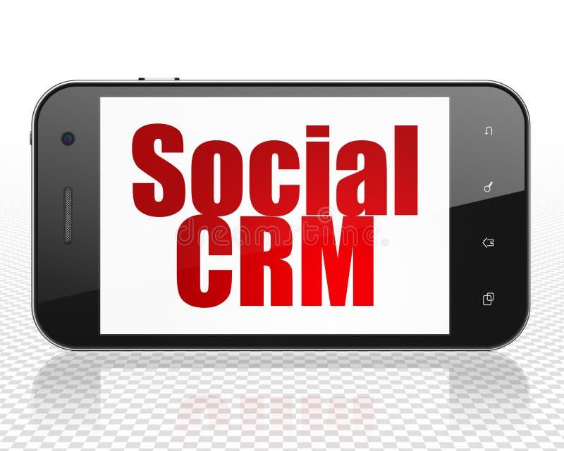 Marketing-Konzept: Smartphone mit Sozial-CRM auf Anzeige stockfotografie