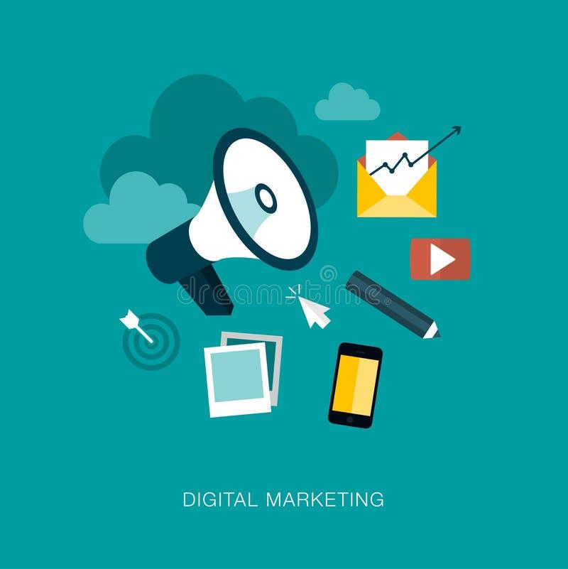 Marketing-Konzeptillustration des modernen Vektors digitale lizenzfreie abbildung