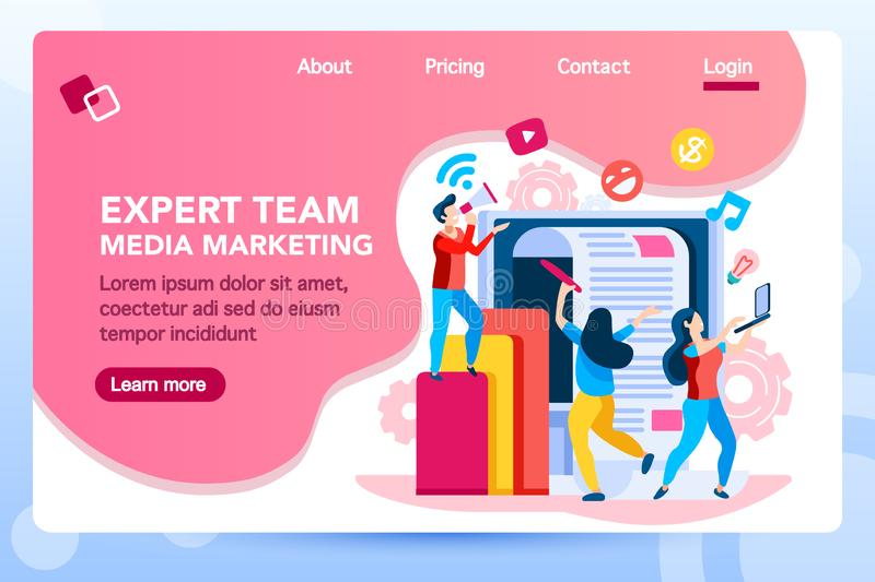 Marketing Landing Page Management Consult. Analysis management consult. Marketing modern strategy. Menu project navigation on software research. Characters on stock illustration
