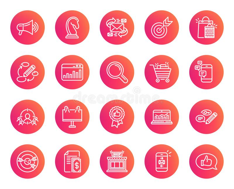 Marketing line icons. Strategy, Feedback. vector illustration