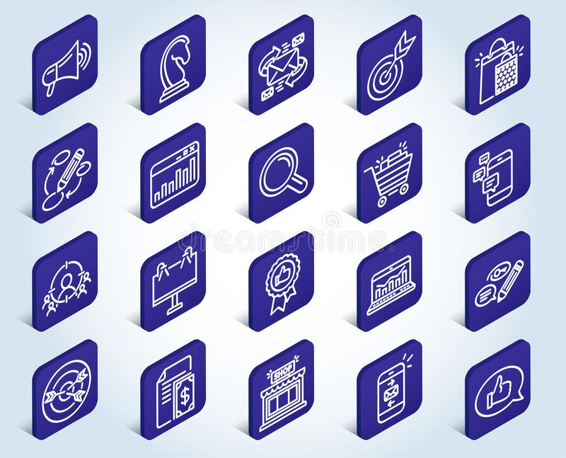 Marketing-Linie Ikonen Strategie, Feedback stock abbildung