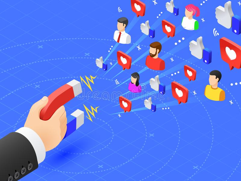 Marketing magnet engaging followers. Social media likes and follows magnetism. Influencer advertise strategy vector stock illustration
