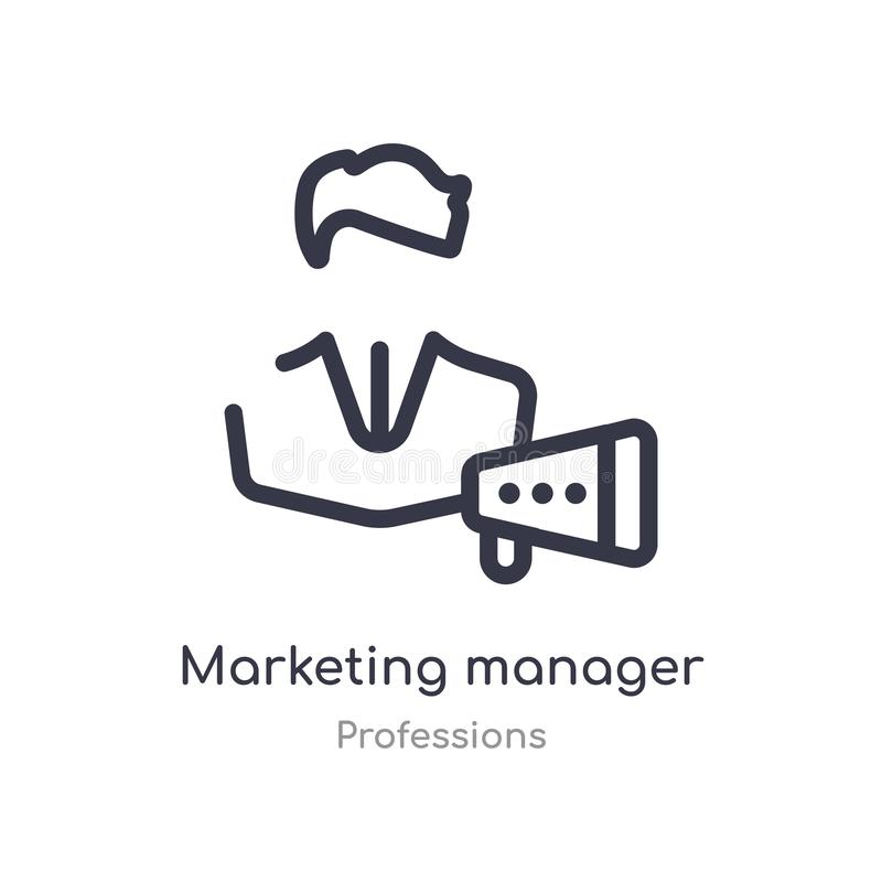marketing manager outline icon. isolated line vector illustration from professions collection. editable thin stroke marketing royalty free illustration