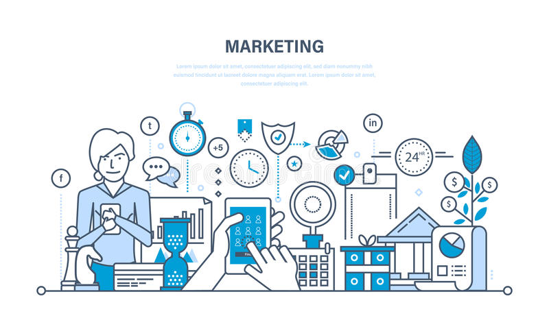 Marketing, marktonderzoek, beheers en controlestrategie, statistieken, rapportering vector illustratie