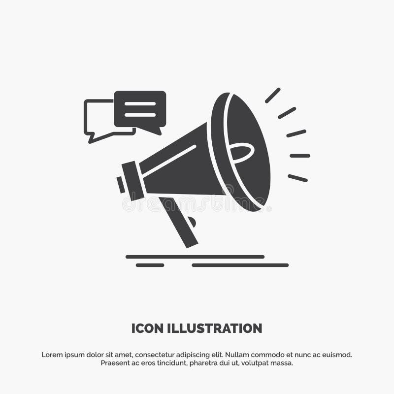 Marketing, Megaphon, Mitteilung, Promo, F?rderung Ikone graues Symbol des Glyphvektors f?r UI und UX, Website oder bewegliche Anw lizenzfreie abbildung