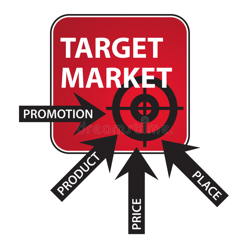 Marketing Mix Diagram. With arrows with tags promotion, product, place and price vector illustration