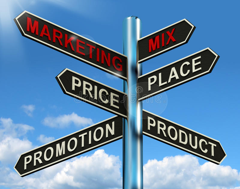 Marketing Mix Signpost With Place Price Product And Promotion stock illustration